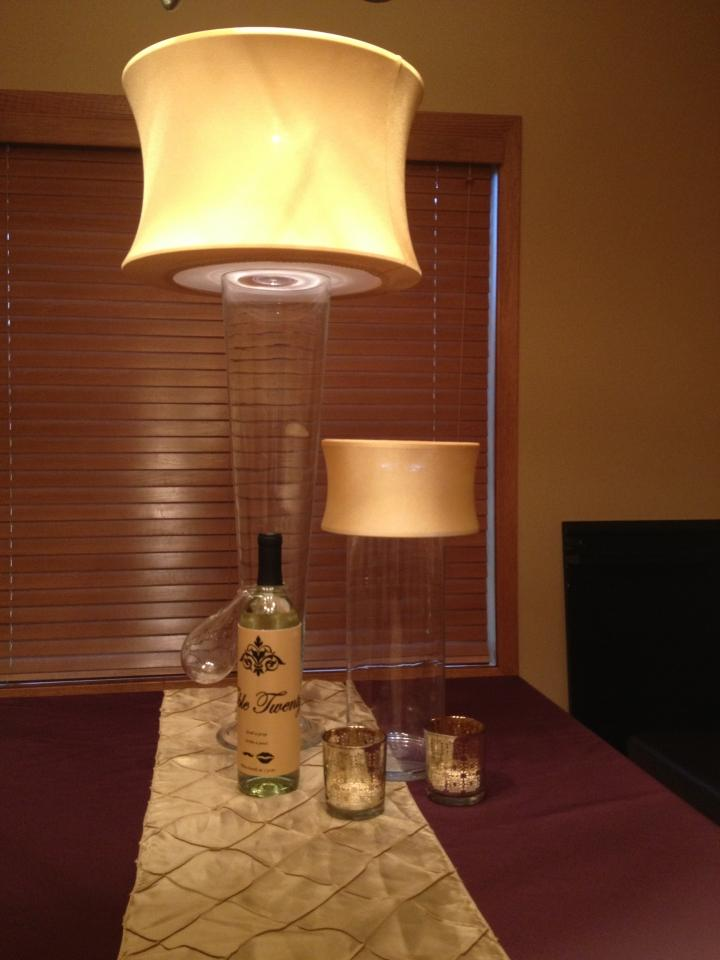 Gold lamp light centerpiece w glass base other colors