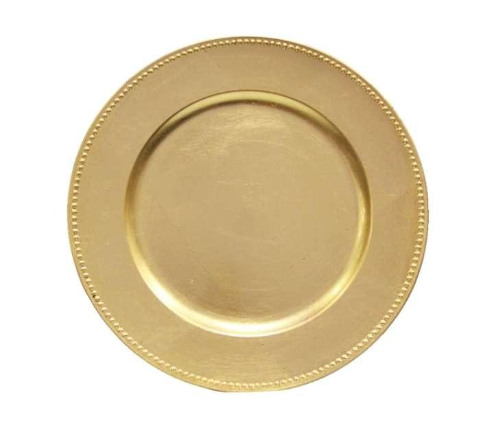 Lot Of 120 Gold Round Charger Plates With Beaded Rim 13