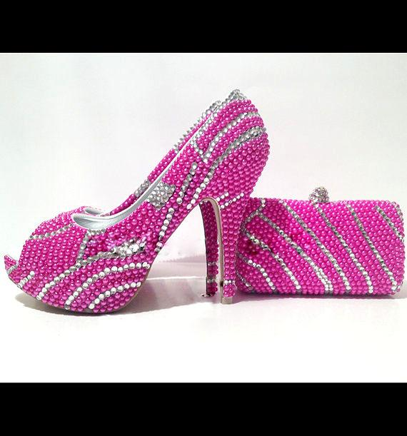 My Wedding Shoe Swirls Fuschia Pearl N Clear Crystal Luxury V Wedding
