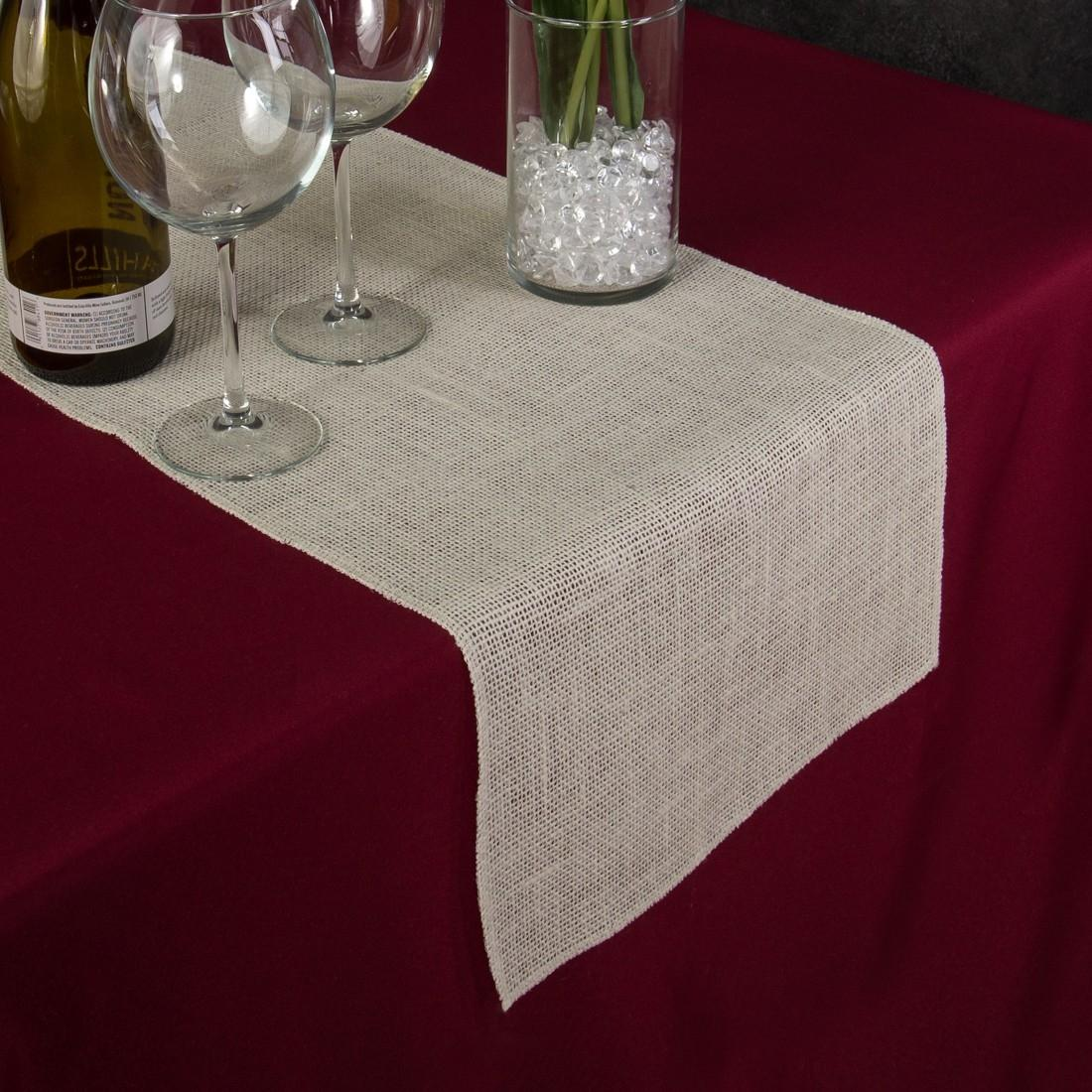 Delicieux Ivory Burlap Table Runners   13