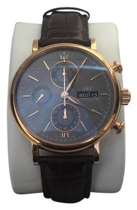 IWC Mens Portofino Automatic Brown Leather Grey Dial 42mm Watch