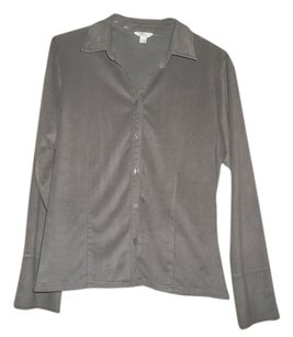 J. Jill 100% Polyester Button Down Shirt Taupe