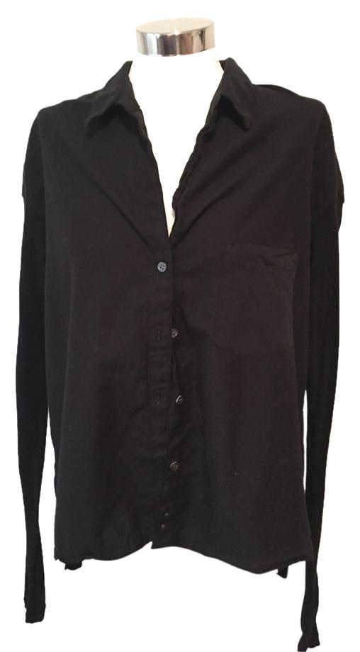 James Perse Black Cotton Pocket Shirt With Stretch Knit Long ...
