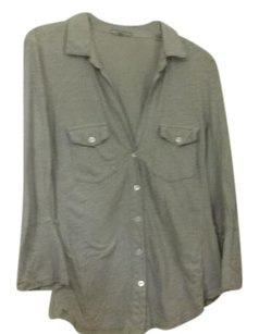 James Perse Two Front Pockets Supima Cotton Made In Usa Button Down Shirt Lavender