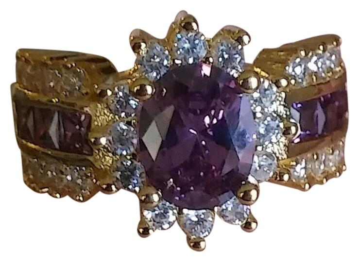 Jared 10k Gold Over Silver Cluster Large Purple White Gemstone
