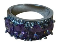 Jared New 14K White Gold Filled Purple Amethyst Gem Stone Crown Ring