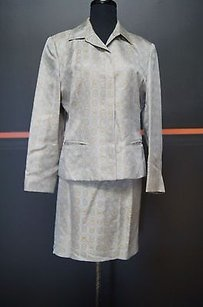 JAX Jax Light Graygold Acetate Blend Belted Skirt Jacket Suit 13845