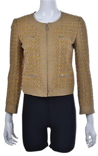 J.Crew Womens Beige Basic Tweed Metallic Wool Casual Coat Pre Owned Jacket