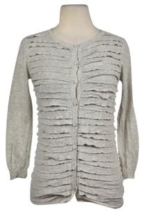 J.Crew Womens Speckled Ruffled Cardigan Casual 34 Sleeve Sweater