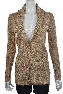 J.Crew Womens Tan Cardigan Speckled Wool Casual Sweater