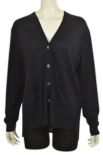 J.Crew Womens Navy Cardigan Speckled Wool Casual Sweater