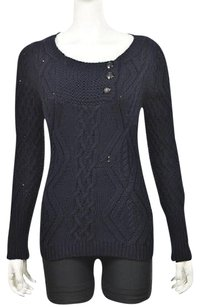 J.Crew Womens Navy Crewneck Cable Knit Cotton Guc Casual Sweater