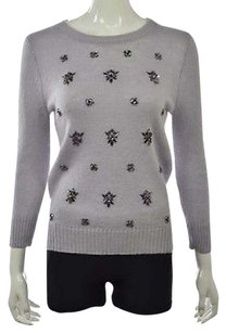 J.Crew Womens Lilac Crewneck Wool Embellished Shirt Sweater