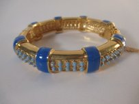 J.Crew J.crew Gold Bar Blue Enamel Bead Bubble Cuff Bracelet