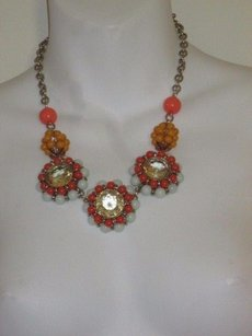 J.Crew J.crew Orange Yellow Blue Bead Crystal Bib Neckace