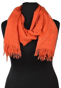 J.Crew J Crew Womens Orange Scarf Os Solid Casual Fringed