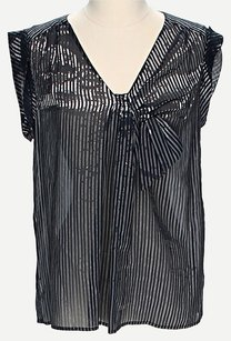 J.Crew Metallic Silk Sleeveless Top Black & Silver