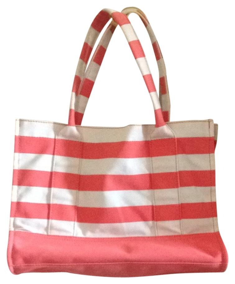 J.Crew Boardwalk Tote Coral And White Beach Bag on Sale, 25% Off ...
