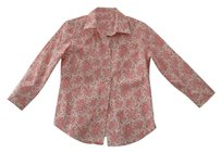 J.Crew Print Floral Fitted Spring Button Down Shirt White.Pink/Red