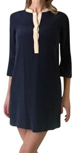 J.Crew short dress Navy Shift Three Quarter Sleeve Silk Mandarin Collar Bell Sleeve on Tradesy