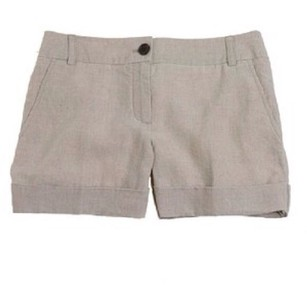 J.Crew Boyfriend Cuffed Shorts City Fit Tan Beige Linen Cuffed
