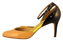 J.Crew Womens Beige Yellow Leather Ankle Strap Heels Multi-Color Pumps