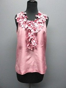 J.Crew Silk Half Button Front Solid Sleeveless Sma 7829 Top dusty pink