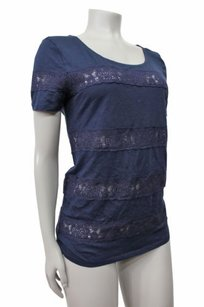 J.Crew Lace Stripe Tissue Scoop Top Navy Blue