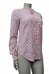 J.Crew Thistle Print Popover Button Top White pink