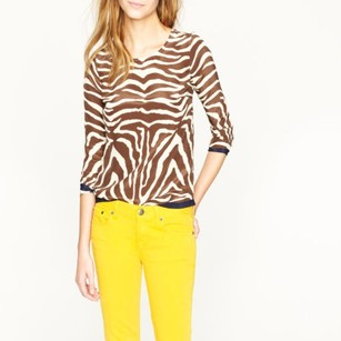 J.Crew Scoop Neck Silk In Zebra Print Tunic