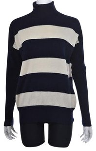 J.Crew Womens Navy Striped Turtleneck Cashmere Ivory Sweater
