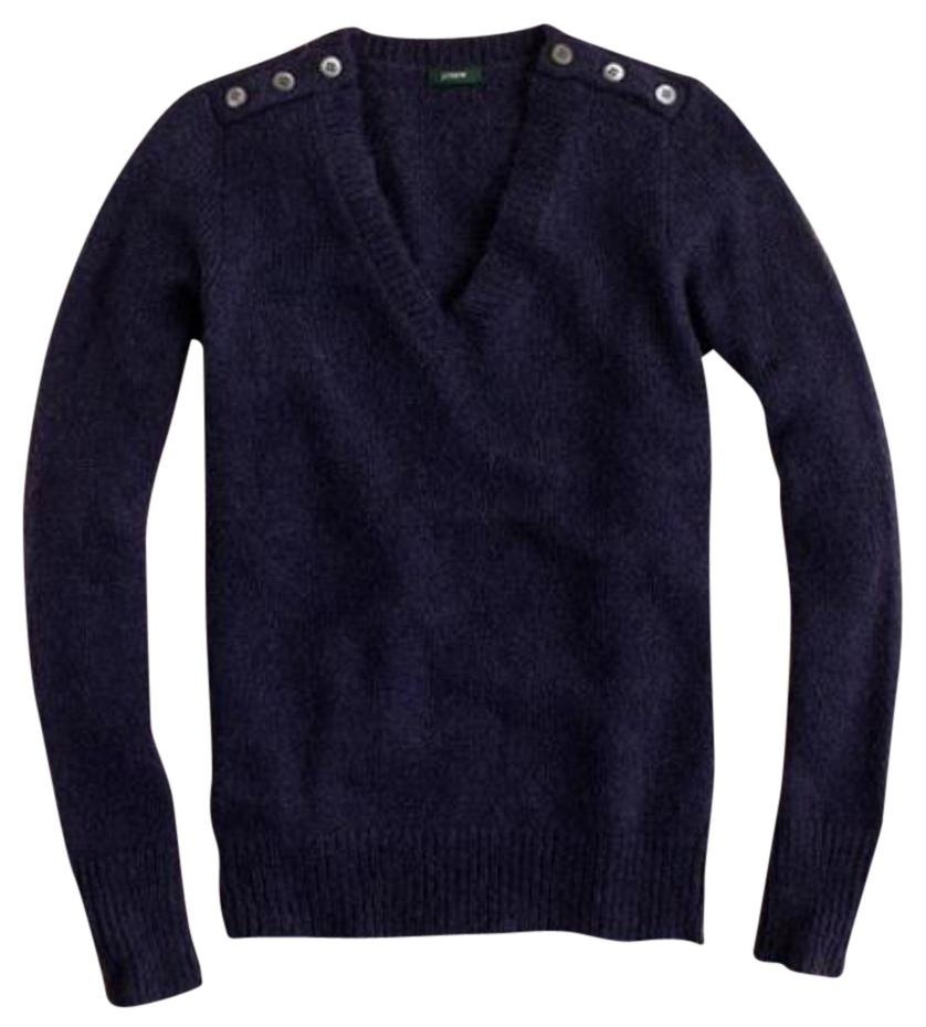 J.Crew Navy Wynter V-neck Wool Mohair Blend Sweater ...