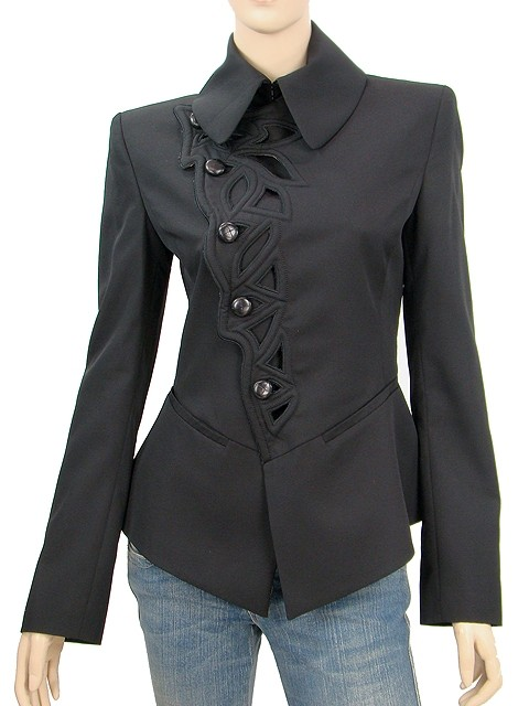 Jean-Paul Gaultier Structured Cut-out Embroidered Wool Black Blazer. 123456