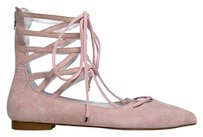 Jeffrey Campbell Ballet Laces Up Pointed Toe Zipper Closure Suede Pink Flats