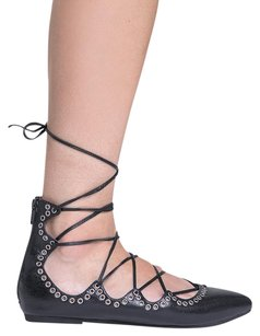 Jeffrey Campbell Leather Lace Up Zipper Closure Pump Black Flats