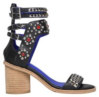 Jeffrey Campbell Buckle Zipper Closure Heel Leather Multi Sandals