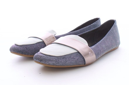 Jeffrey Campbell Vintage By Metallic Loafer Charcoal, White & Pale Bronze Flats