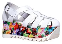 Jeffrey Campbell Platform Buckle Floral Wedges Multi Sandals