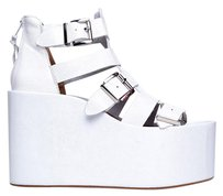 Jeffrey Campbell Platform Heel Leather Wedge White Sandals