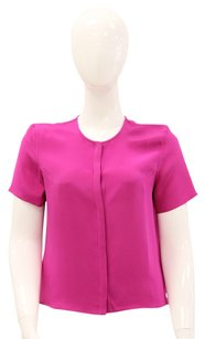 Jenni Kayne Silk Short Sleeve Office Casual Day To Night Top Pink