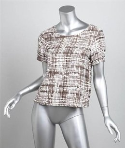 Jenni Kayne Gray White Abstract Print Cotton Silk Short Sleeve Top