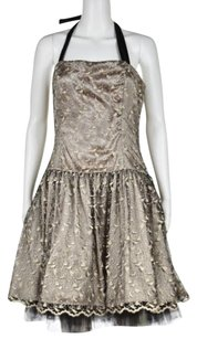 Jessica McClintock Womens Embroidered Formal Halter Sheath Dress