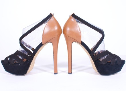 Jessica Simpson Suede Leather BLACK AND TAN Platforms