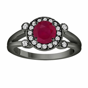 Red Ruby Engagement Ring 14k Black Gold Vintage Style 1.12 Carat With Side Diamonds Unique Halo Pave Handmade Certified