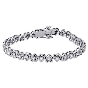 Jewelry For Less 1 Row Heart Shaped Diamond Tennis Bracelet Bezel Set 925 Sterling Silver 7 1 Ct