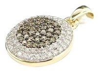 Other 10k Ladies Yellow Gold Champagne Brown Diamond Circle Pendant Charm For Necklace