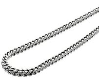 Jewelry For Less 10k Real White Gold 5.25 Mm Franco Box Cuban Chain Necklace Inch