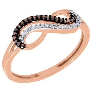 10k Rose Gold Red White Diamond Infinity Fashion Ring Anniversary 0.10 Ct.
