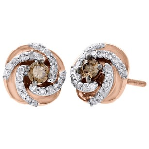 Other 10k Rose Gold Solitaire Brown Diamond Studs Ladies 9.10mm Swirl Earrings 0.50 Ct