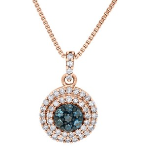 Jewelry For Less 10k Rose Gold White Blue Diamond Double Halo Circle Pendant W Chain 12 Ct.